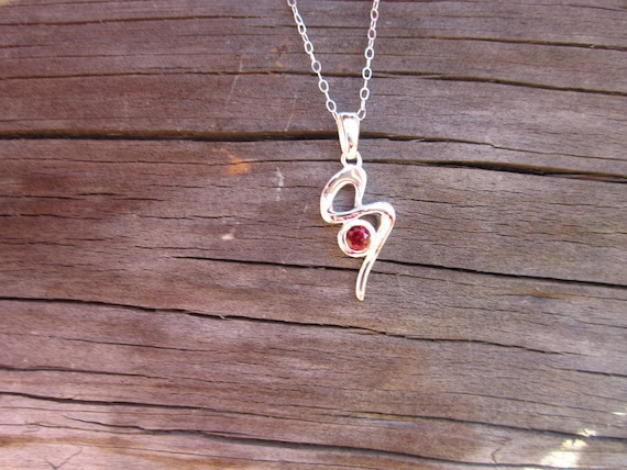 "Garnet & Sterling Silver ""S"" Swirl Necklace - #53"