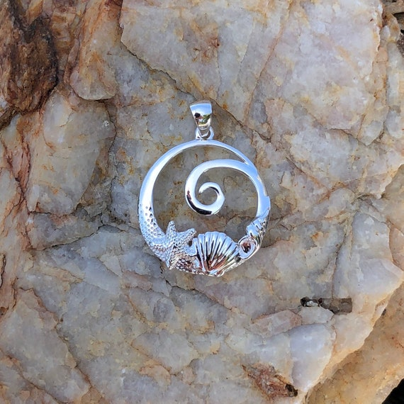 Sterling Silver Seashell and Wave Pendant