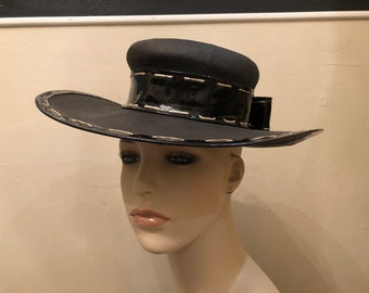 60dc0ae30 Vintage Yves Saint Laurent woven hat with black patent leather brim and bow