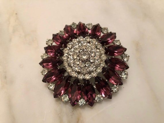 Vintage Hobe amethyst rhinestone brooch