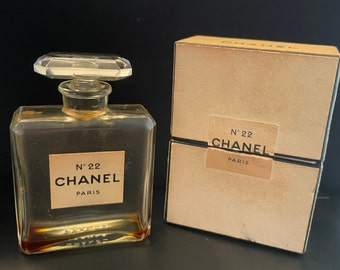 Vintage Chanel No 22 Perfume bottle and box
