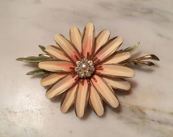 Vintage Francois painted flower brooch with rhinestones and pearl