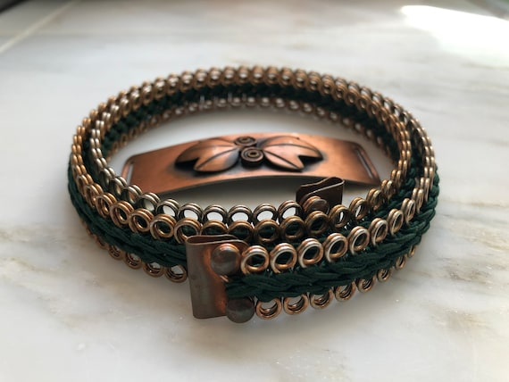 Vintage Rebajes copper modernist cinch belt with l