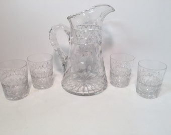 American Brilliant cut glass daisy flower pitcher with 4 matching glasses