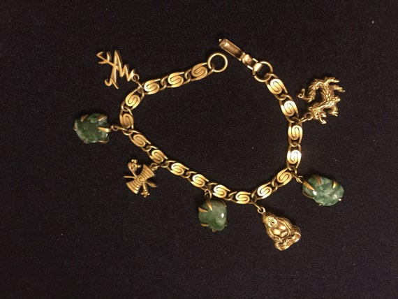 Free Shipping Vintage Faux Jade and Buddha Pendant Chain Charm Bracelet