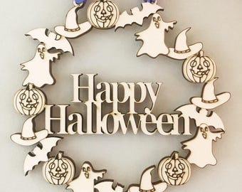 Happy Halloween door wreath, Halloween decoration, Halloween door hanger, Halloween party, Halloween Wreath