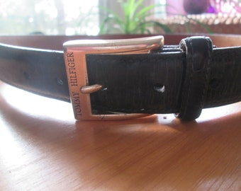 44819bc7a Vintage Tommy Hilfiger black textured leather belt with silver tone buckle.  Made in USA size 38 unisex black belt. Fits 36 1/2-40 1/2