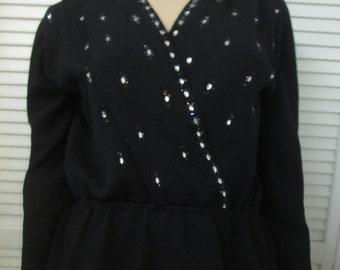 ce011b8522d6ed Vintage St John knit black sequined and jet bead evening sweater. Stretchy  peplum waist