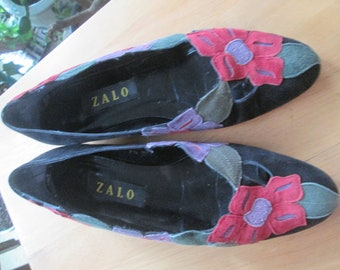 bb6fe10fc23 Vintage Zalo black and multicolor suede flat shoes w  leather sole.Floral  sewn on aqua red and purple flowers adorn this unique shoe. 7 1 2M