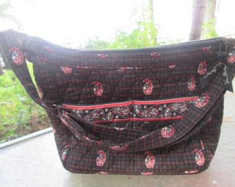 184d568d6d Vintage Vera Bradley brown black and orange quilted 100% cotton top handle  shoulder or crossbody purse Like new vintage classic. Fall colors