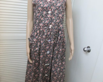 818d40998b168d Vintage floral print loose waist sleeveless cotton midi dress w  8  individually unique hand painted porcelain buttons. Size small- see below