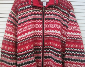16be42dc5e6 Vintage plus size women s cotton ramie blend cardigan sweater. Nordic red  white and black pattern. Year round cardigan plus size 18-20.