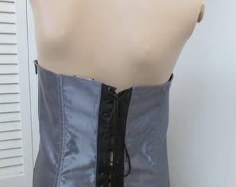 9030015d76a Back double laced side zipper silver gray corset bustier. Totally steampunk  sexy. Size Large. Very versatile