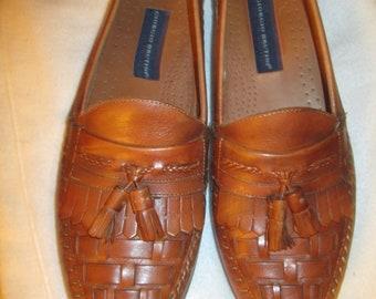 6bdd881a99e1a1 Vintage Giorgio Brutini tan tassel basket weave slip on soft leather shoes  Unisex boho hip mod classic soft tan leather shoes US mens sz 9M
