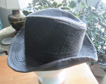 Indiana Jones hat leather look poly cotton blend brown reproduction Disney Corporation in USA. Brown fegora hat. Raiders of the Lost Ark hat