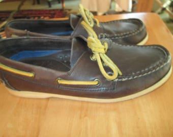 Vintage Lands End dark brown leather deck boating top sider shoes w rawhide string ties.  Made in Brazil size 8 1/2 B-see measurements below