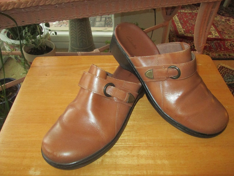 51034eda80b8a Vintage Clarks women's doe brown faux leather slip on mules/clogs. Size 11  M Made in Brazil slip on low heel country boho everyday size 11