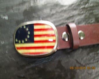 "Vintage Legacy American flag buckle brown leather belt.  50"" long. Fit 38 3/4 -46"". 1 1/2"" wide."