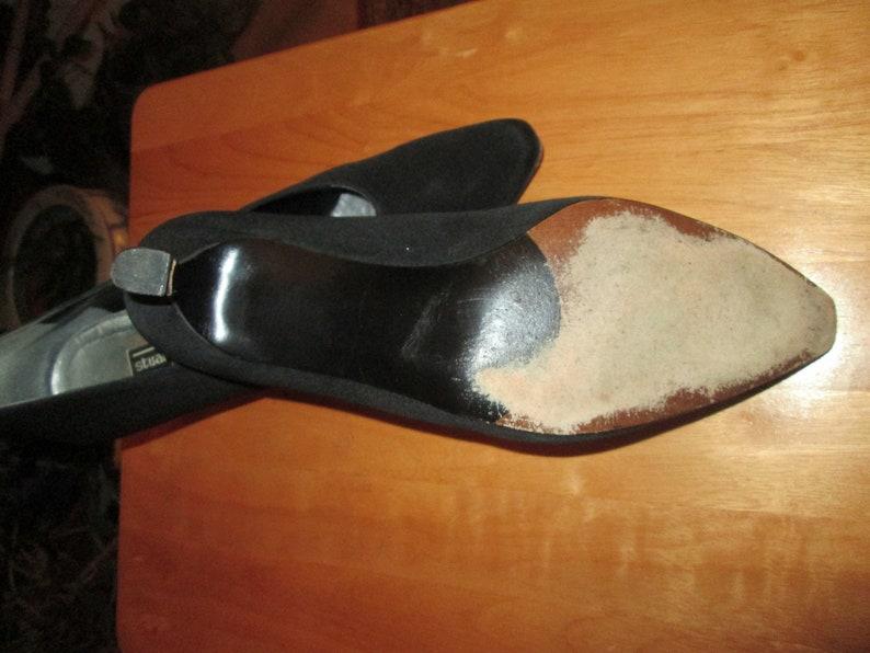 e75d715930c62 Vintage Stuart Weitzman black peau de soie fabric 2 inch heel dress pumps  Size 10 B evening shoe w/leather soles . Sz 10 B dance heels.