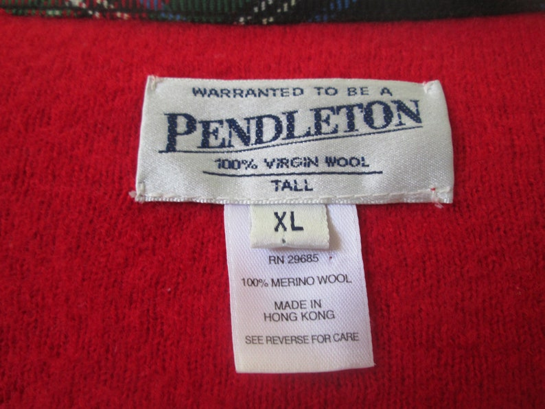 Vintage Pendleton boiled wool long red front zip sweaterjacket tartan plaid trim 100/% wool size XL Boho preppy professional sweater jacket
