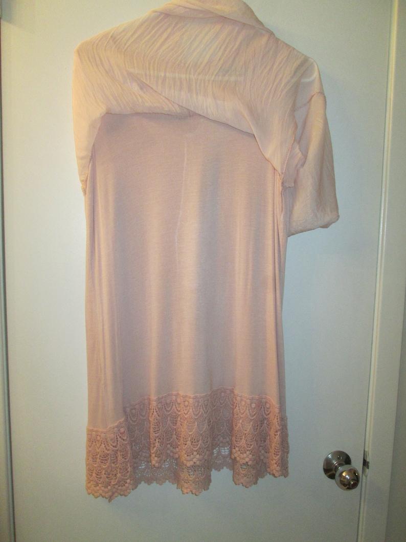 9b7c070b3bcd80 Crinkled silk and crochet pale dusty pink sleeveless long