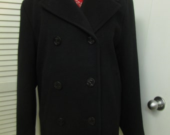 Vintage black wool pea 3/4 carcoat made in USA for Talbots Full back Anchor stamped buttons finished V side pockets VERY Generous size 14