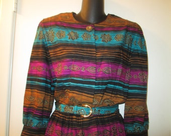 Vintage shirtwaist turquoise purple and bronze dress with self belt and fancy gold button top closure. Lady Carol New York label. Like new