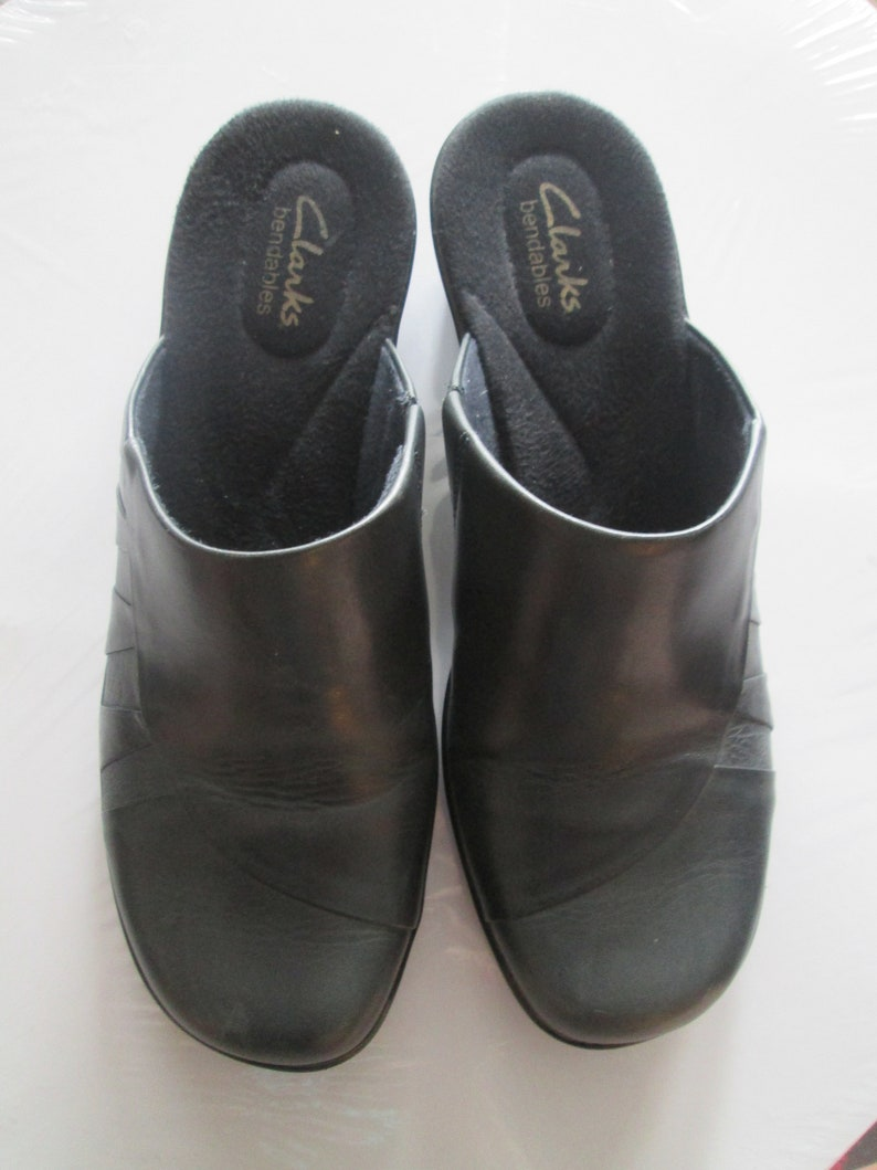 21f9b342f671a Clarks dark gray leather slip on mules. Made in Brazil. Size 8 1/2 M  Excellent slip on Clarks Easy to wear slip on clogs w/ rubber grip sole