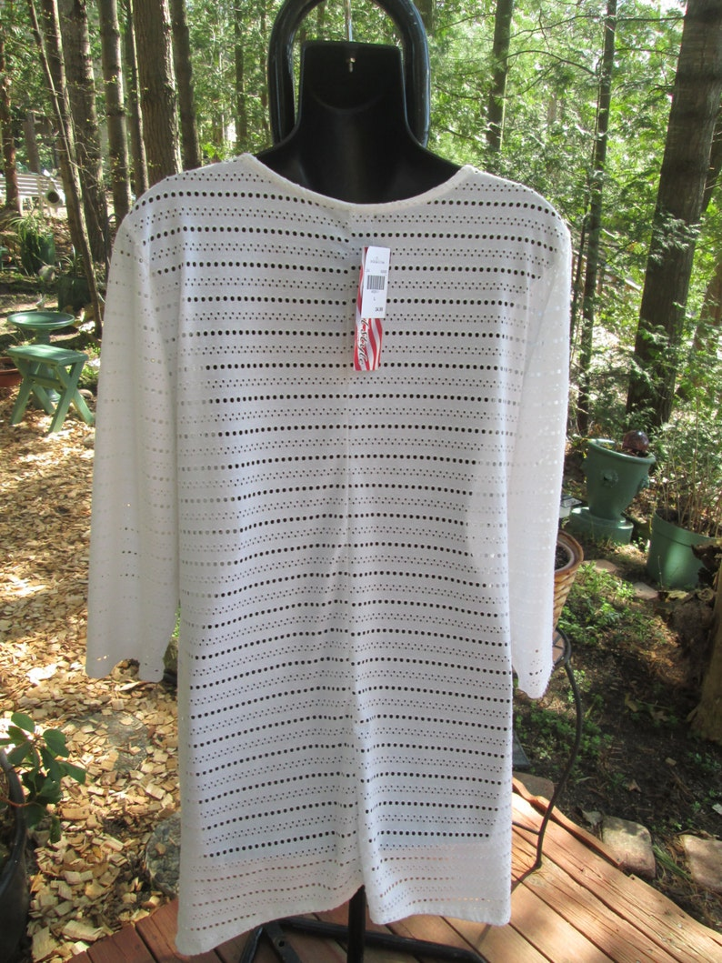 NOS with tags white polyester cut out beach cover summer top Made in the USA Size Large