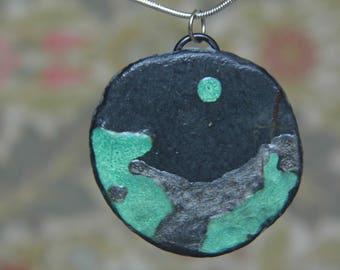 Enamelled slate, stone pendant, FREE SHIPPING, Irish slate, green and grey, planet pendant, boho necklace, UK shops, steampunk moon  pendant