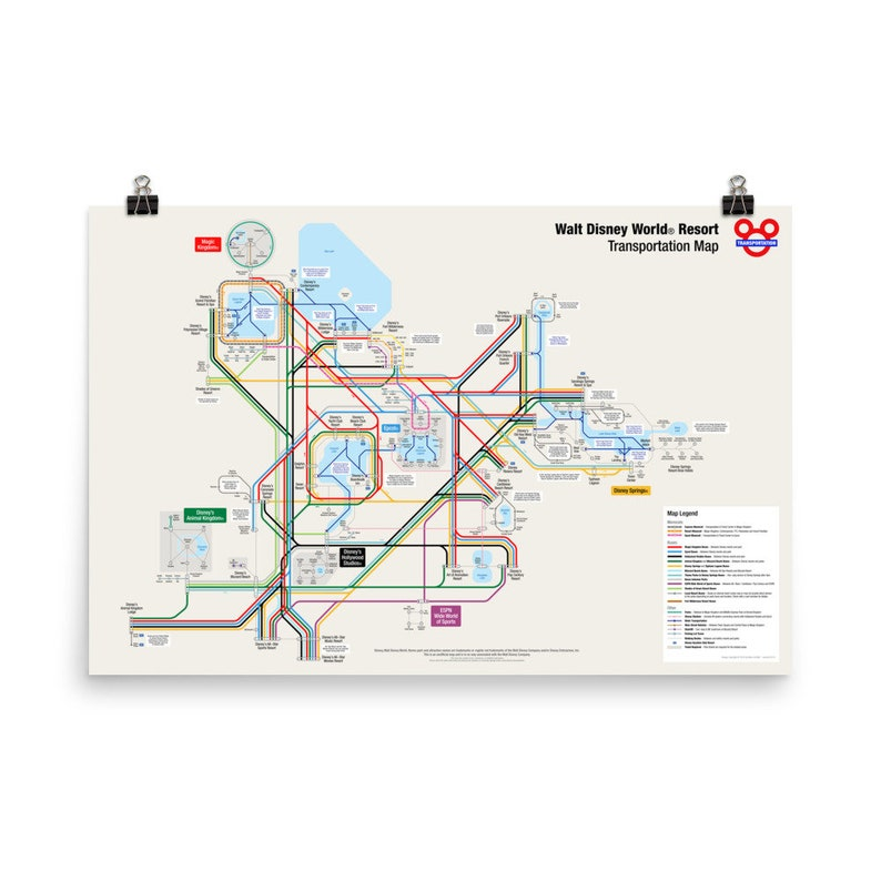 Walt Disney World Transportation Map 36 x 24 inch on Thick image 0