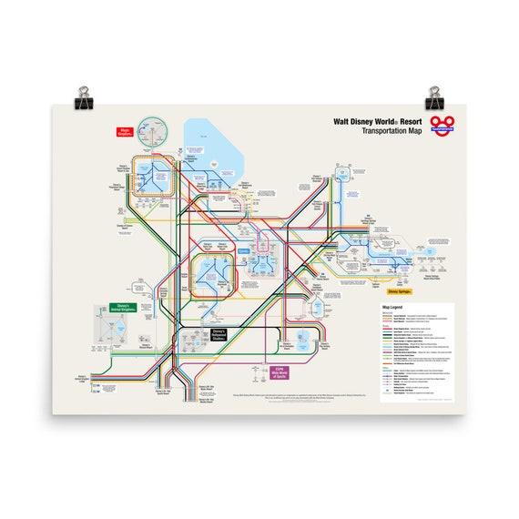 Walt Disney World Transportation Map (24 x 18 inch) on Premium Luster Photo  Paper