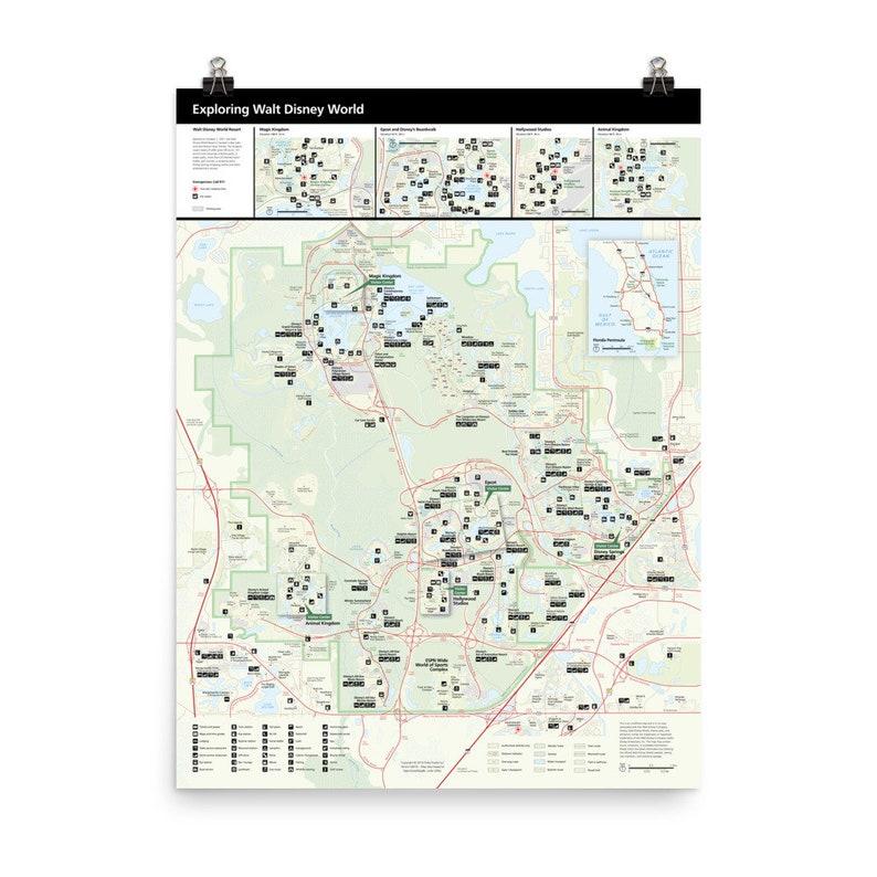 Walt Disney World Resort Map with Points-of-Interest Roads & image 0