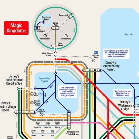 Walt Disney World Transportation Map (36 x 24 inch) on Thick Durable Matte  Paper Poster