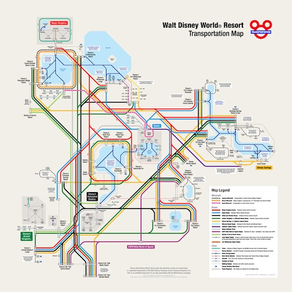 Walt Disney World Transportation Map in Metro Style | Etsy