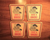 Knickerbocker Beer Coasters Jacob Ruppert Brewery Man Cave Bar Lot Of 4 Coasters 1960s FREE SHIPPING