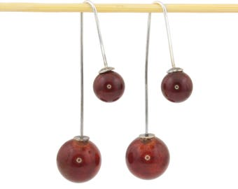 Cherry amber earrings Dark amber Sterling silver Dangle earrings with amber Unique gift for wife Amber jewelry Natural amber earrings