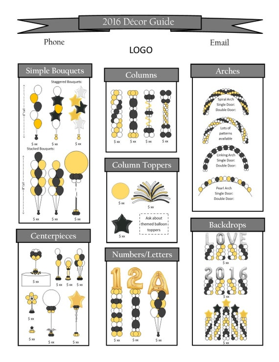 pricing flyer style a in pub and pdf includes balloon clip etsy