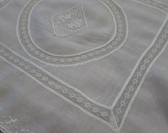Antique Edwardian Fine Muslin Valenciennes Lace & Hand Embroidered Cushion Cover