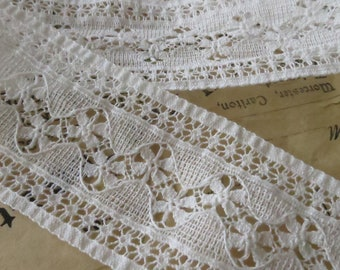 WHITE COTTON VINTAGE EMBROIDERED IVORY TORCHON INSERTION LACE TRIM