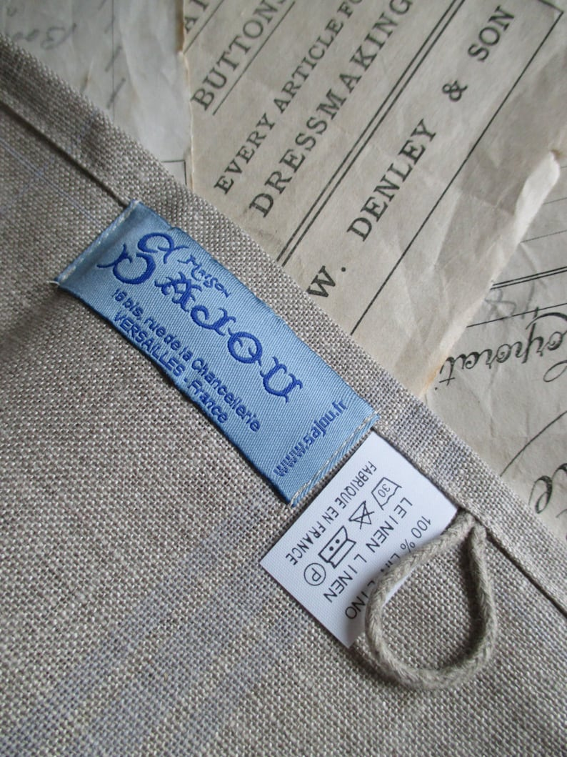 Sajou 32 Count French Linen Navy Blue Checked Tea Towel to Embroider