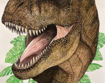 Original Drawing Jurassic Park T-rex - Jungle Queen