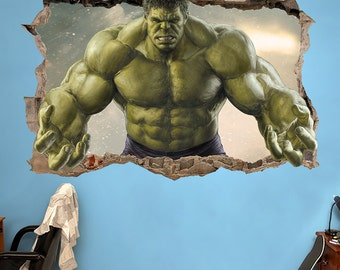 HULK 3d Wall Sticker Smashed Bedroom Green Hero Kids The Incredible Hulk  Art Decal Home Room Mural Avengers Boy Movie Marvel Brok