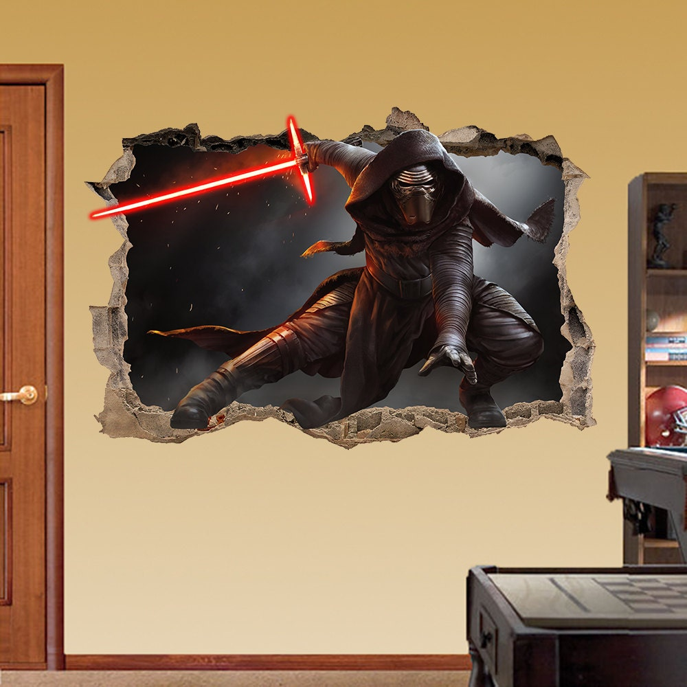 KYLO REN Star Wars Smashed Wall Sticker 3d Bedroom Boys | Etsy