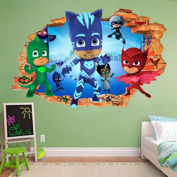 Pj Masks 3d Wall Sticker Smashed Smash Bedroom Kids Art Decal | Etsy