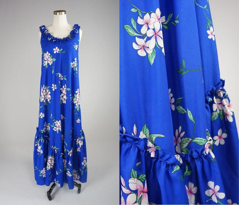9f04d8f0cde Hawaiian Dress • Brilliant Luau Dress • Floral Maxi • Tropical Vacation  Mumu • 1960s Hilo Hatties • Made in Hawaii • Women's XS