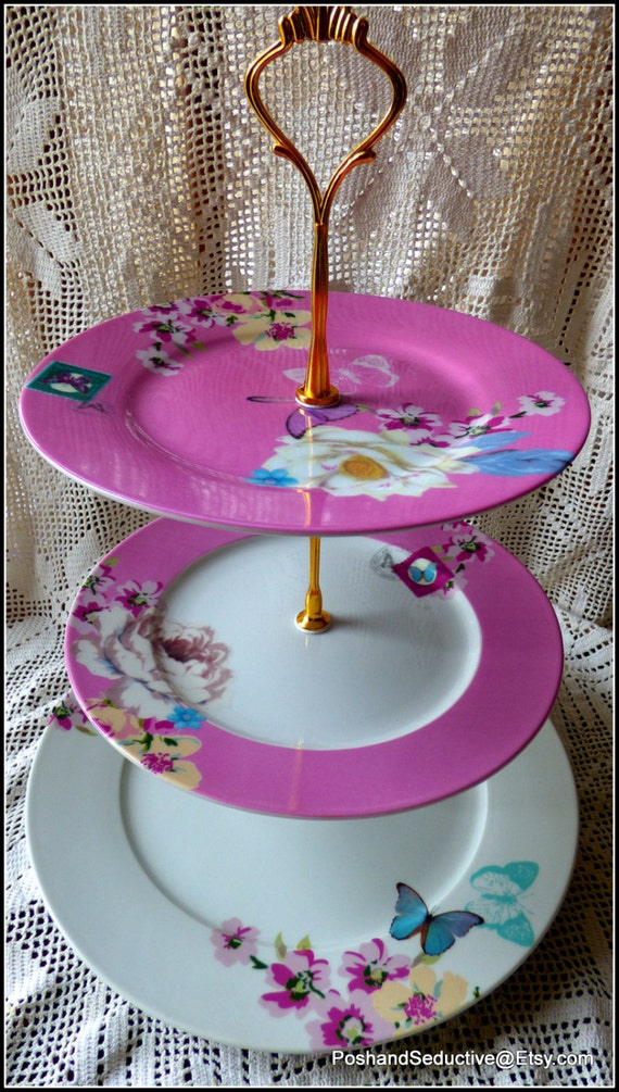 chic glorious pink with rich floral pattern of exotic white lotus apple blossom Three tier handmade Easter Egg display cake stand peony