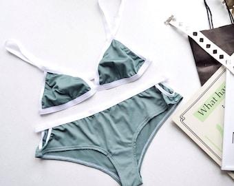 Lingerie Set, Green Lingerie, Sport Lingerie, Underwear