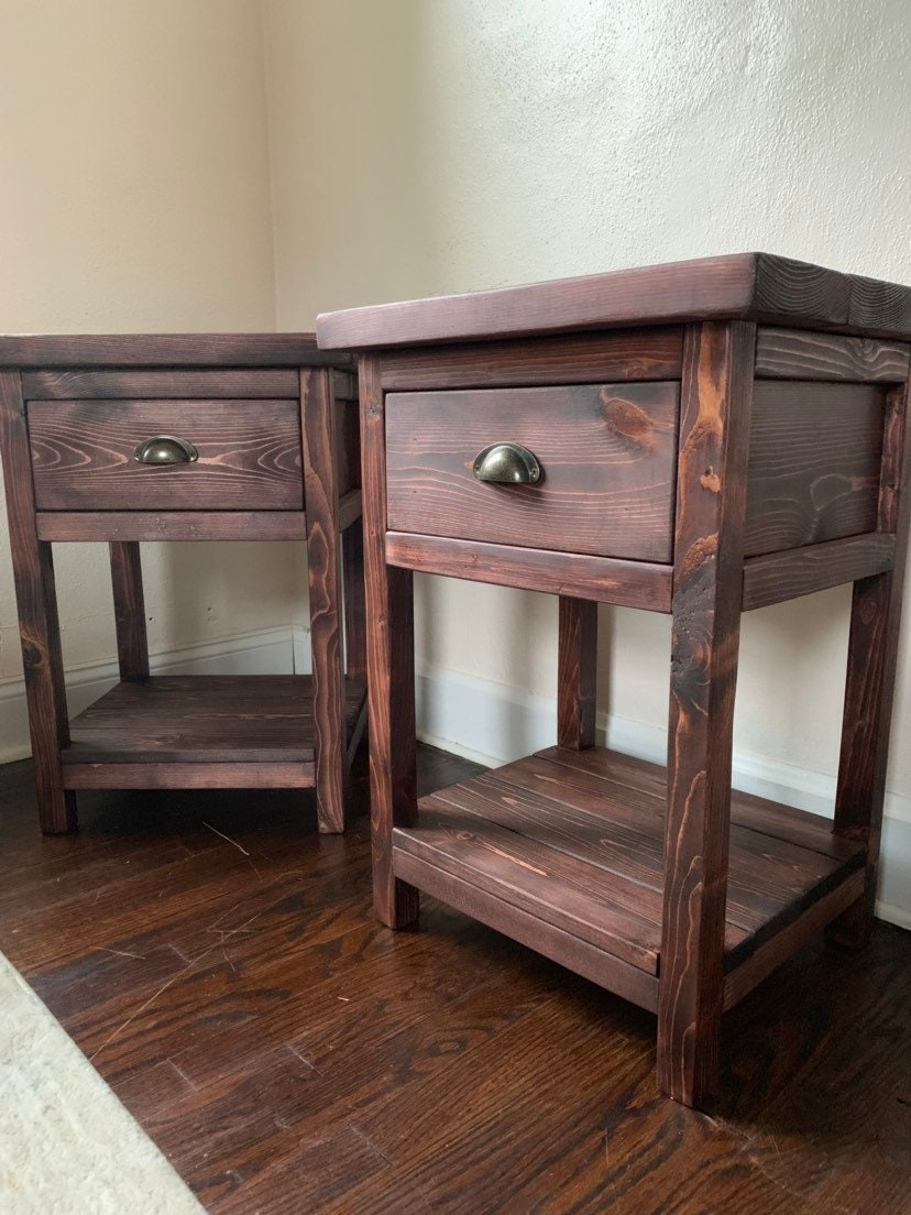 Nightstand Table: Chelsea Farmhouse Nightstand End Table W/ Drawer Rustic