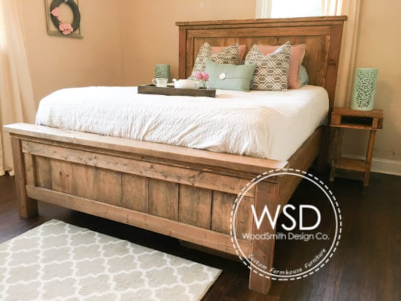Rustic Farmhouse Bed Rustic Furniture Wooden Bed Please Etsy